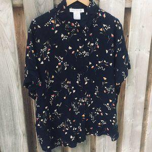 Jones NY navy blue silk blouse - size 20W